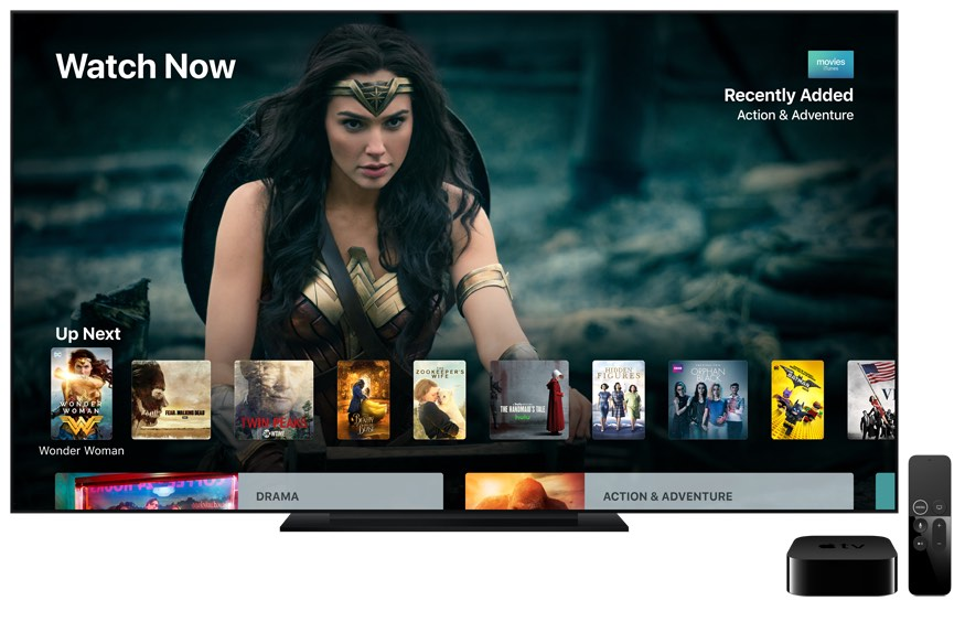 Apple TV with flat screen television, displaying Wonder Woman