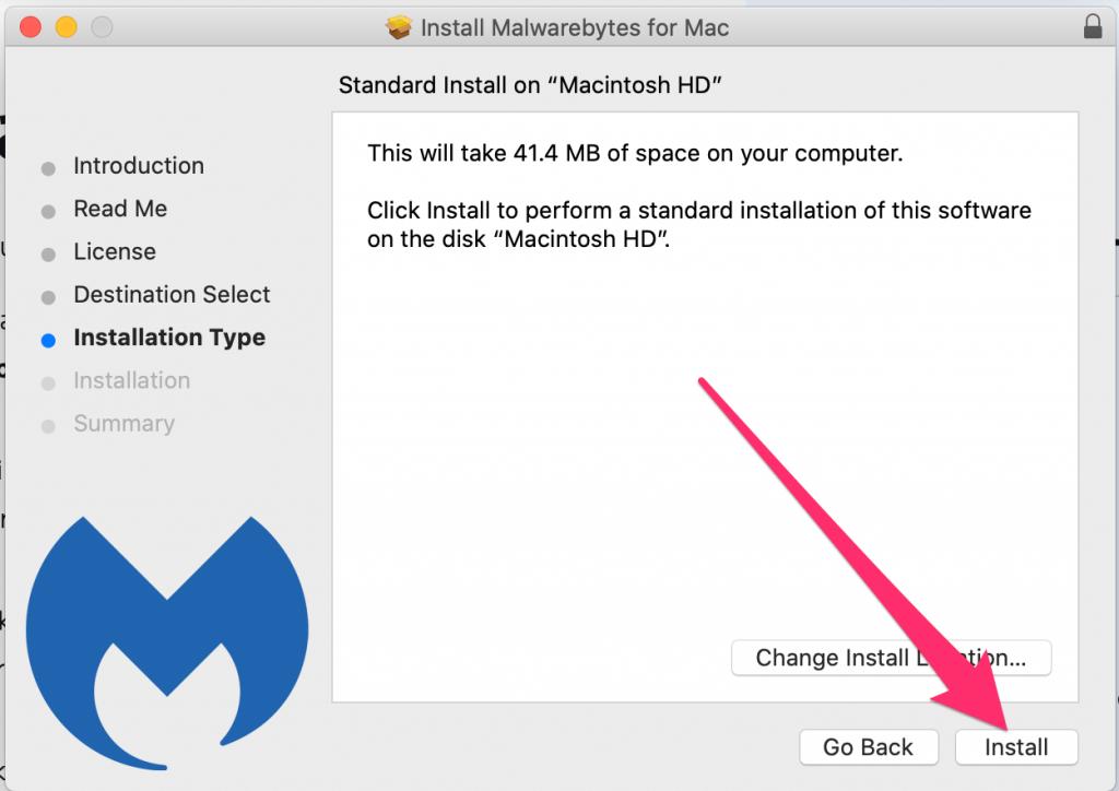 Standard install on Macintosh HD window, click Install.