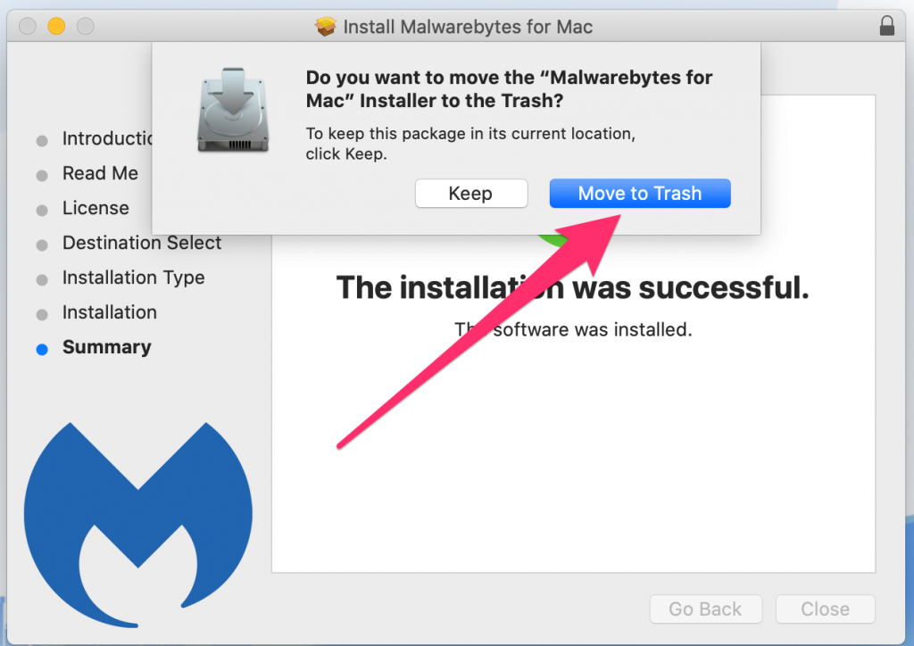 Do you want to move MalwareBytes installer to trash? Click Move to Trash.