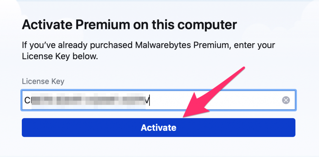Activate Premium on this computer window pops up, copy and paste the activation key you purchased or David sent you.