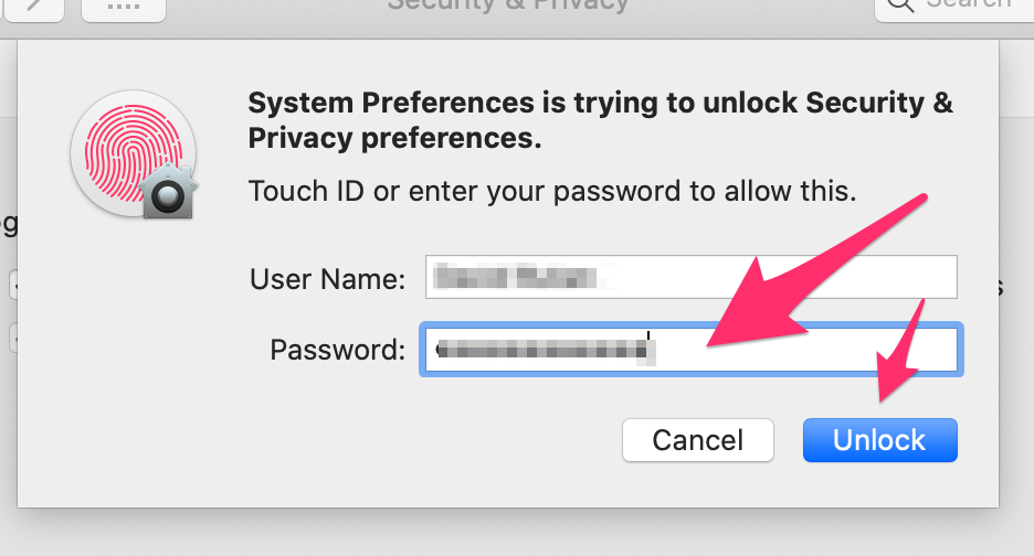 Enter your computer's password on the Username and Password dialog box.