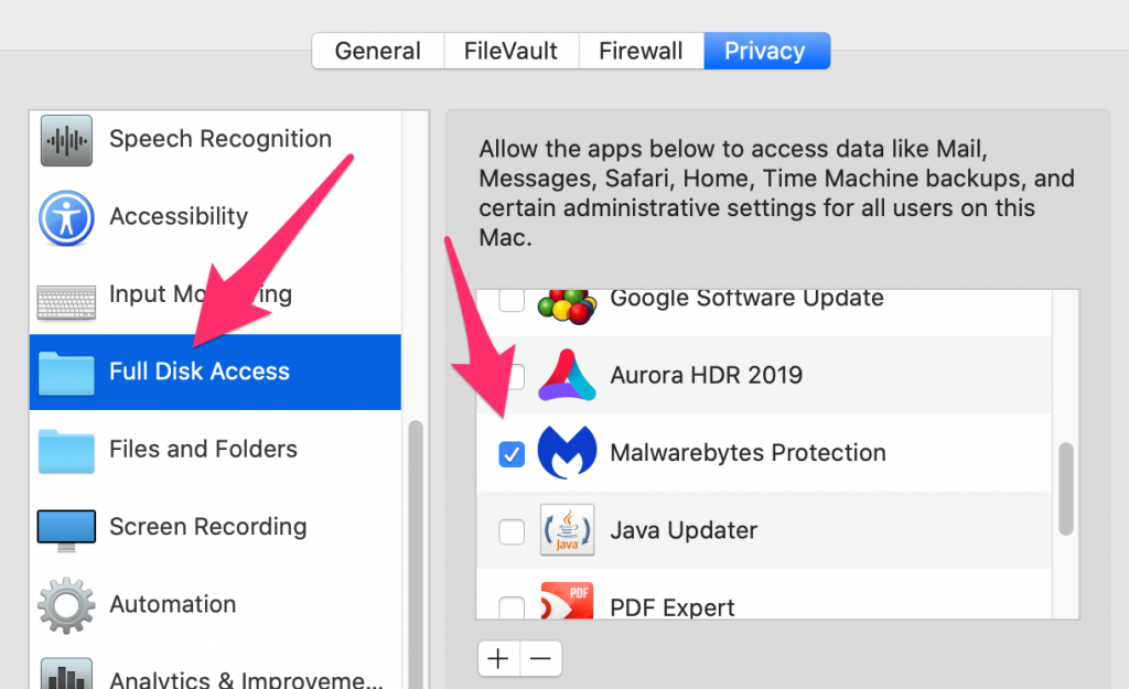"Privacy window, click the ""Full Disk Access"" option on the left."