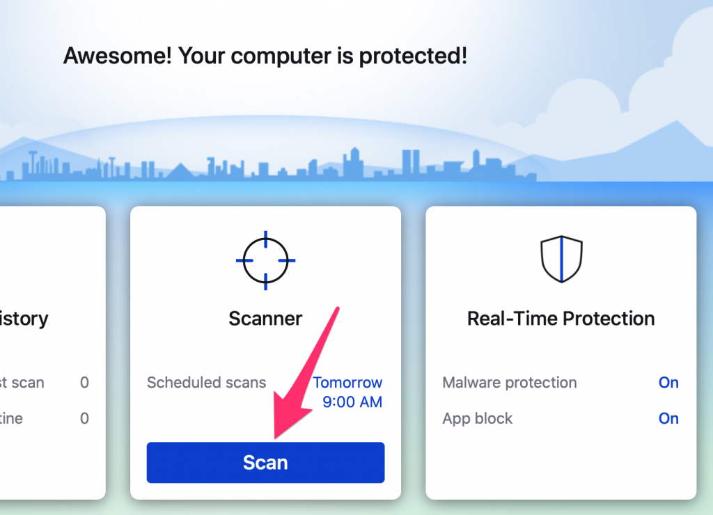 "Malwarebytes window, click the ""Scan"" button at the bottom."