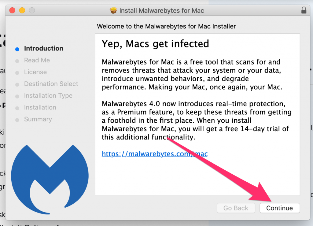 Welcome to MalwareBytes for Mac installer window, click continue.