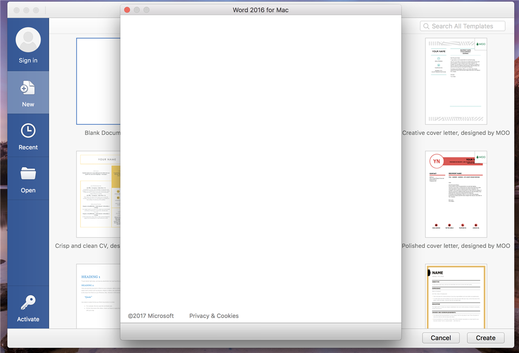 Microsoft Office Blank Activation Screen