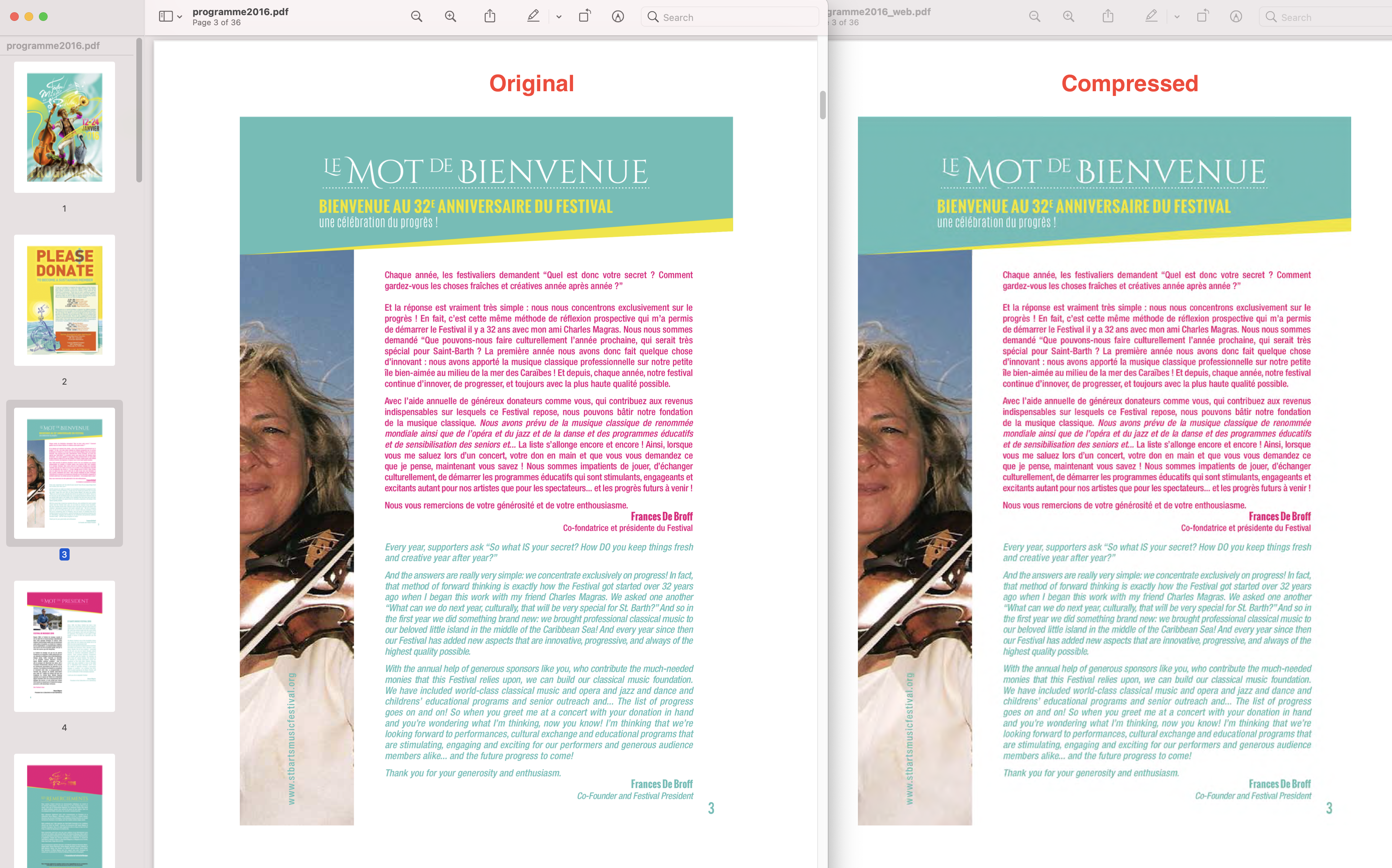 Original 84.6MB PDF on left, and Compressed 5.4MB PDF on Right